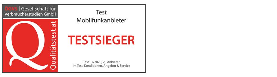 yesss! ist Testsieger 2020 unter 20 österreichischen Mobilfunkmarken