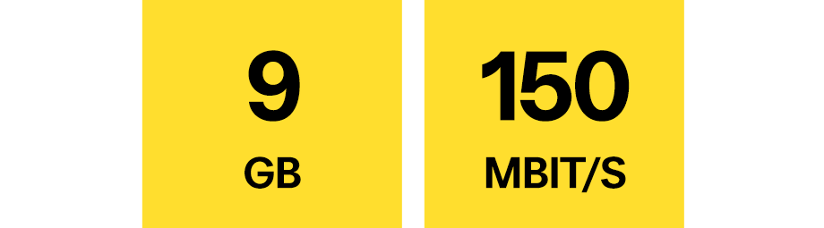 9 GB, 150 Mbit/s