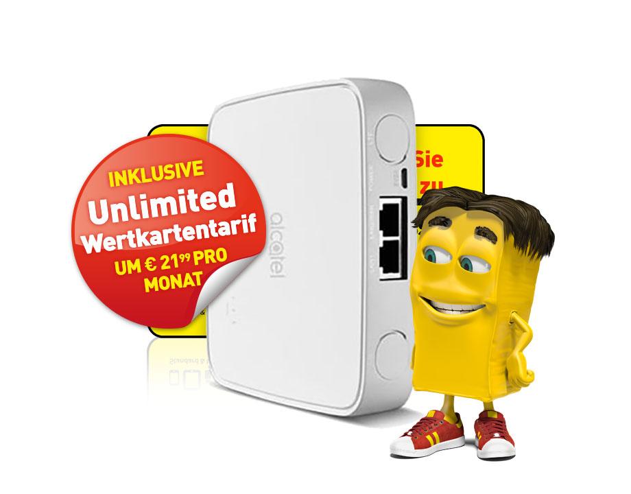Alcatel LTE-Cube inkl. Unlimited Wertkartentarif