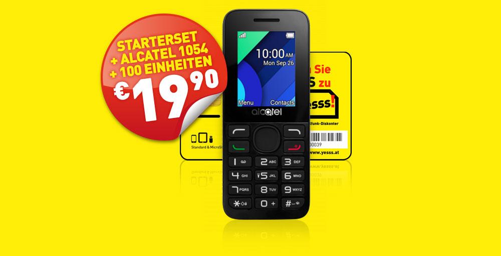 yesss! Starterset + Alcatel Handy um nur € 19,90