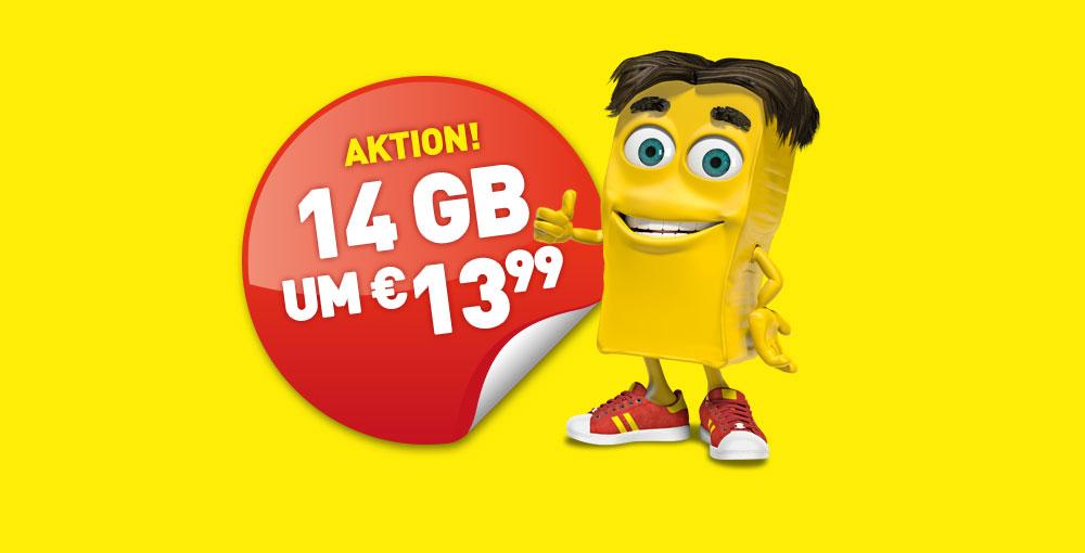 Jetzt für kurze Zeit: 14 GB um €13,99