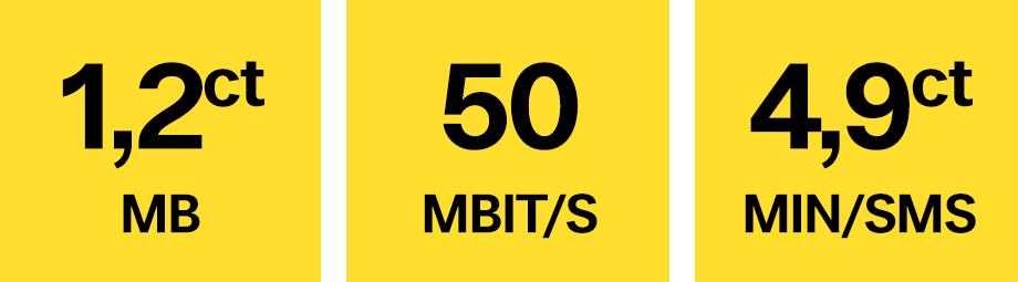 3,9 Cent pro Minute und SMS und 0,9 Cent pro MB sowie LTE bis 50 Mbit/s