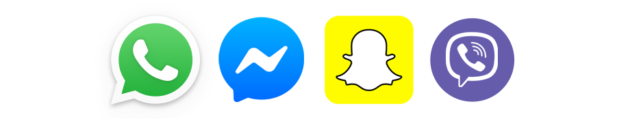 Inkludiert sind WhatsApp, Facebook Messenger, Snapchat und Viber